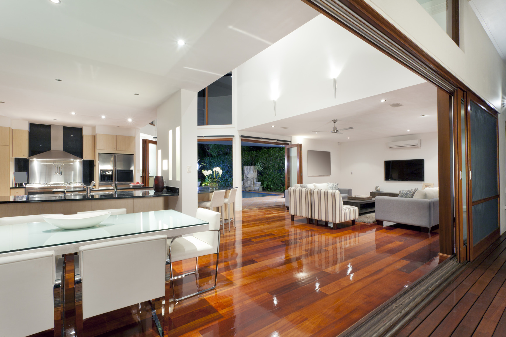 Luxurious home interior with large sliding doors